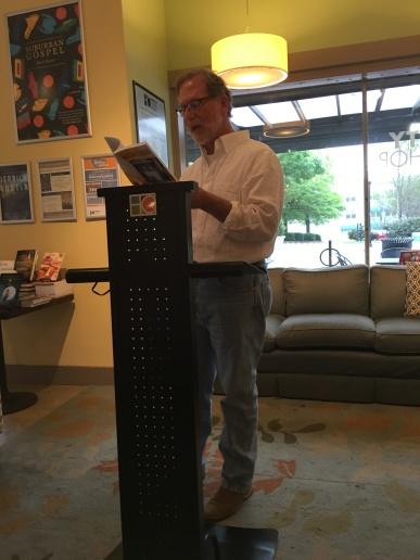 A closer shot of me reading at Hub City Books